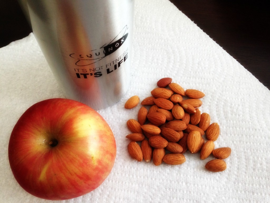 Snack of apples and almonds