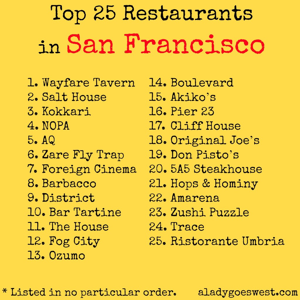 Top 25 Restaurants in San Francisco from A Lady Goes West