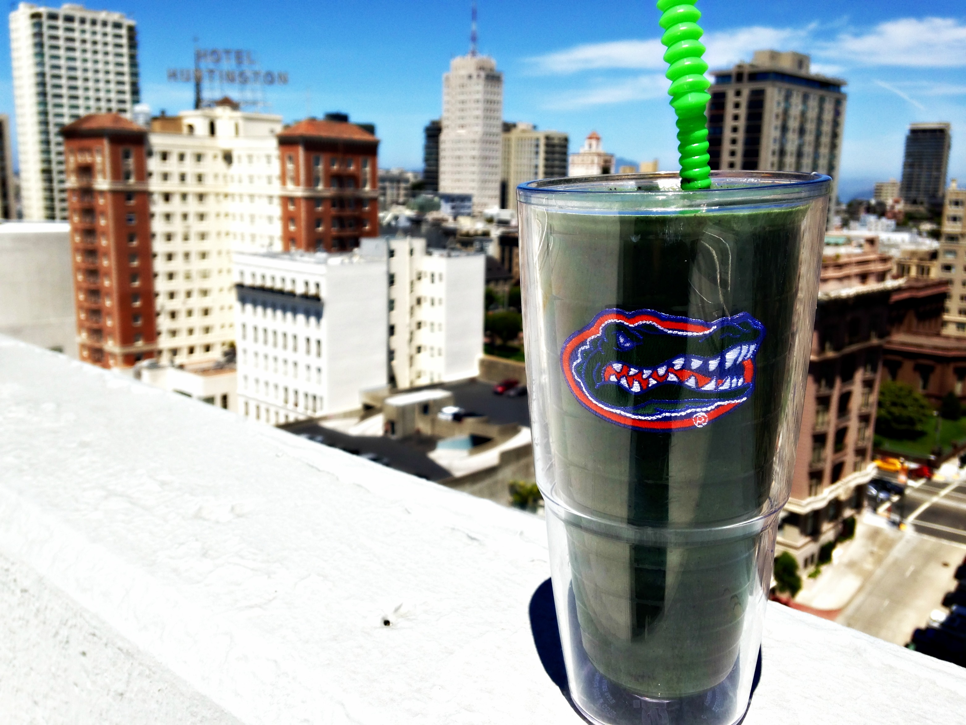Green smoothie on the roof