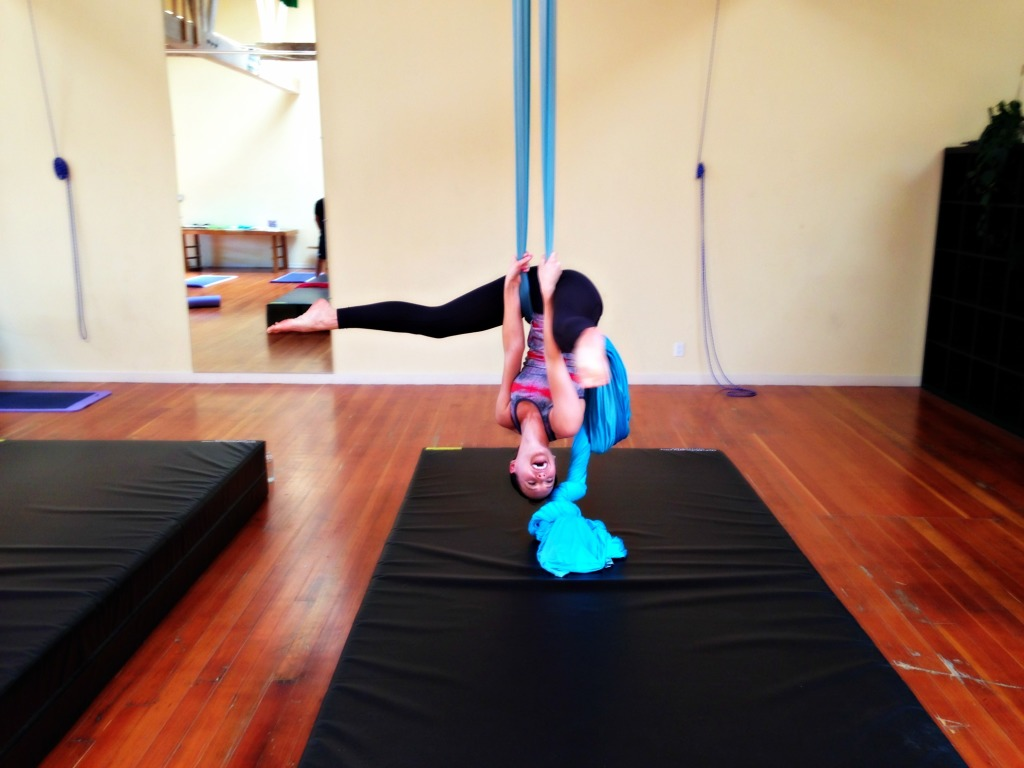 Ashley on the aerials upside down
