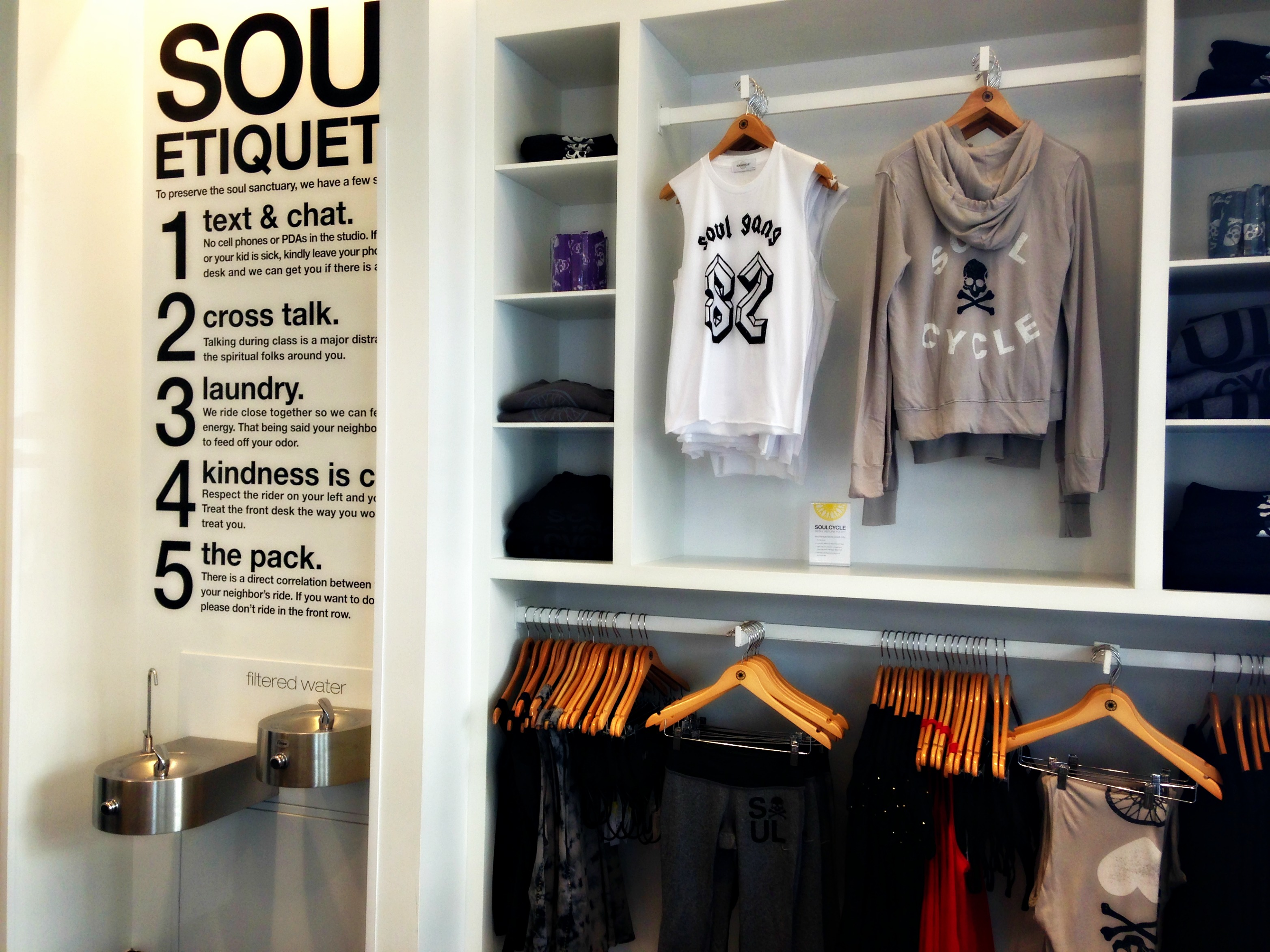 SoulCycle sign and clothesSoulCycle sign and clothes