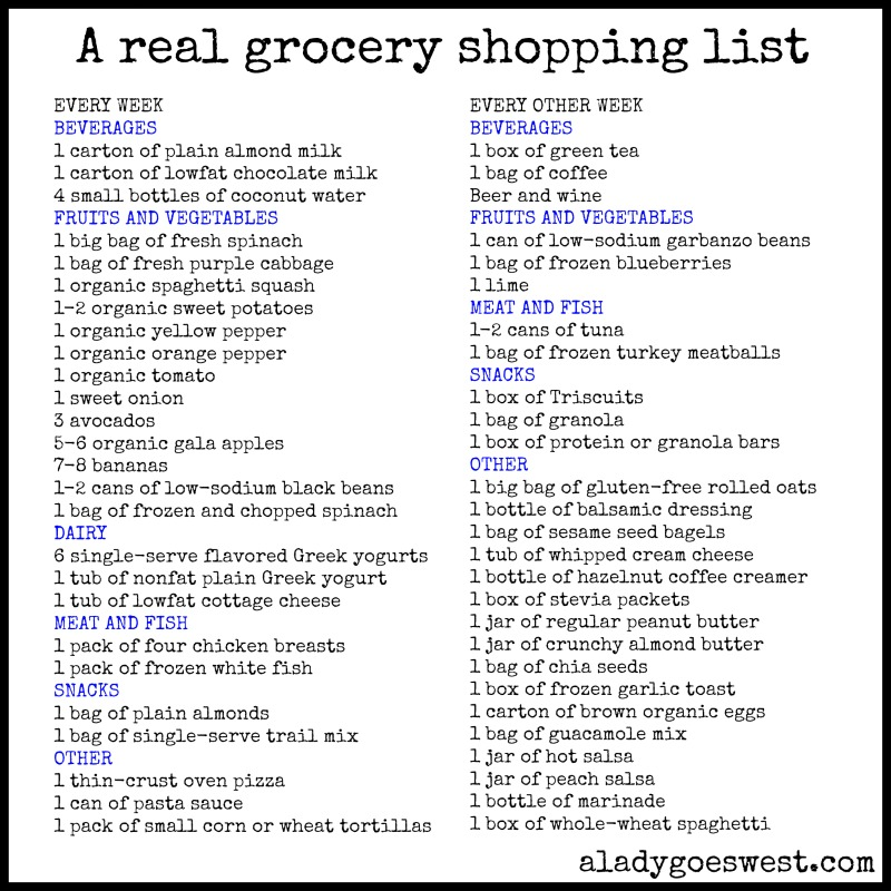 A Real Weekly Grocery Shopping List | A Lady Goes West