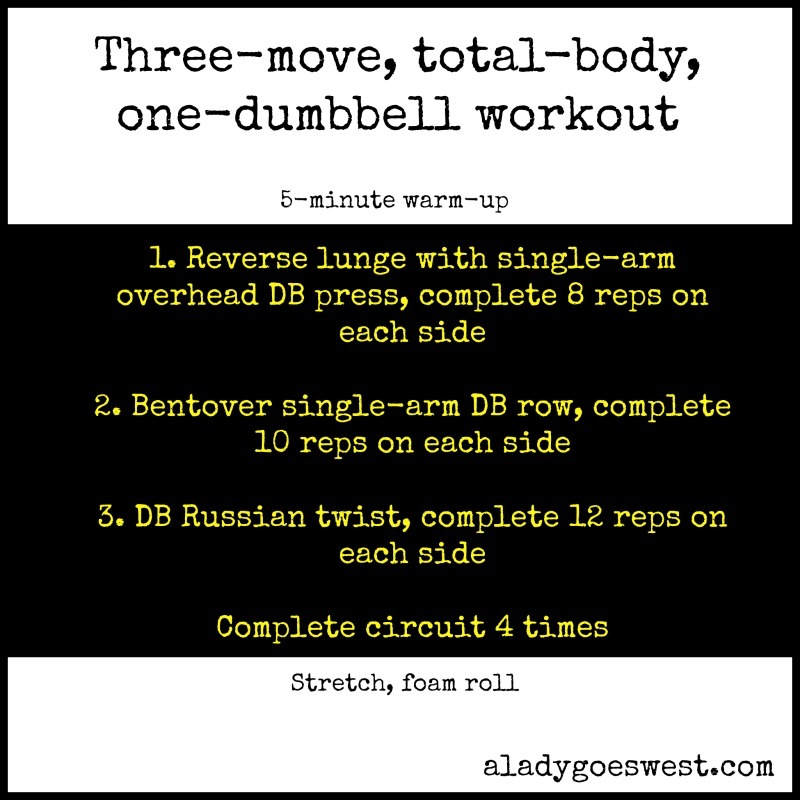 Three-move total-body one-dumbbell workout via A Lady Goes West
