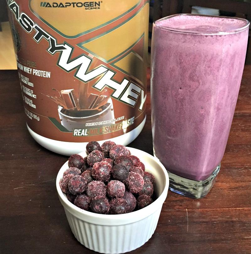 Blue chocolate protein milk-shake smoothie