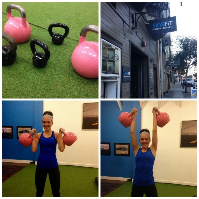 Ashley with kettlebells via A Lady Goes West