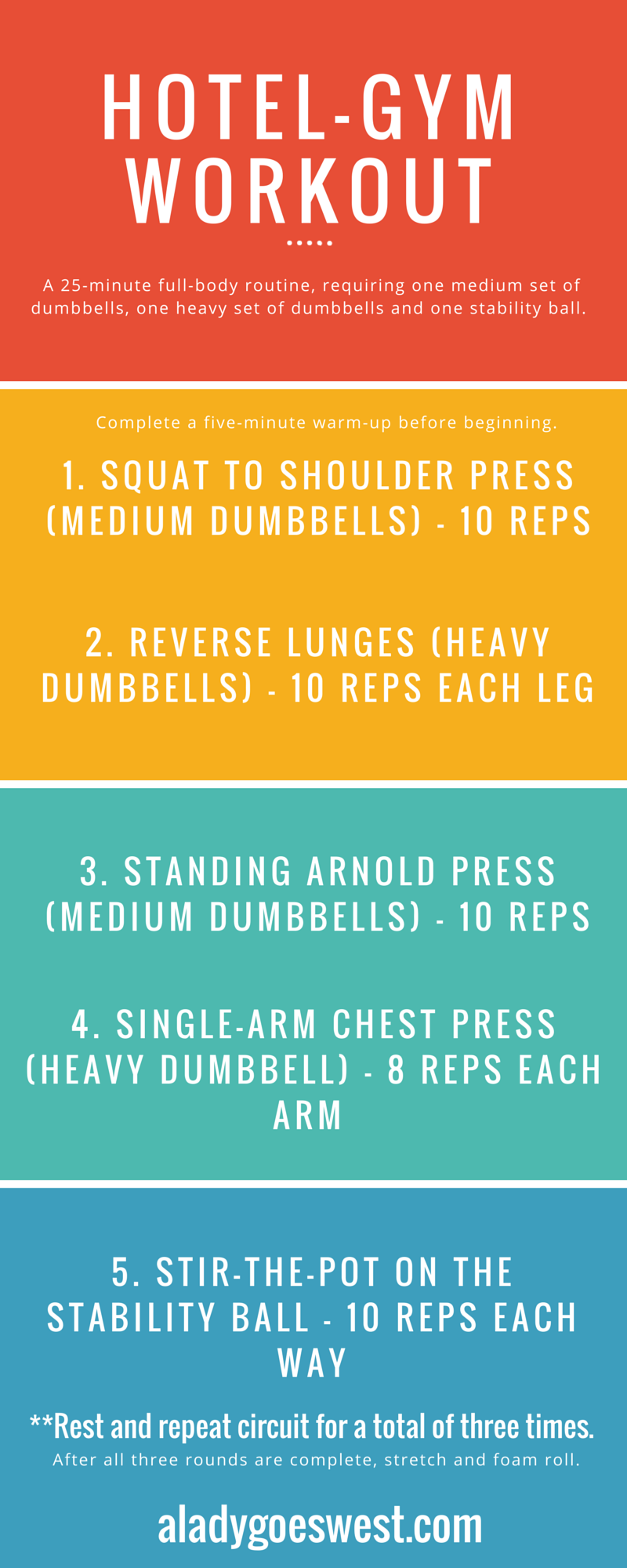 A short-on-time hotel-gym dumbbell workout