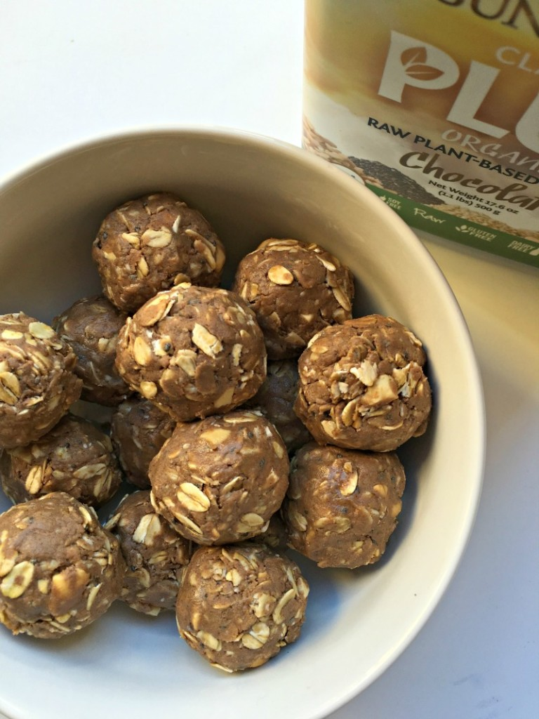 Chocolate cashew no-bake protein balls recipe via A Lady Goes West