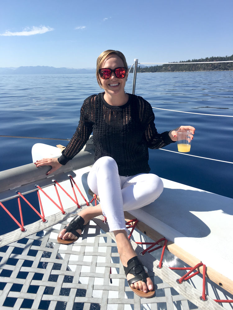 Ashley on the catamaran in Lake Tahoe by A Lady Goes West