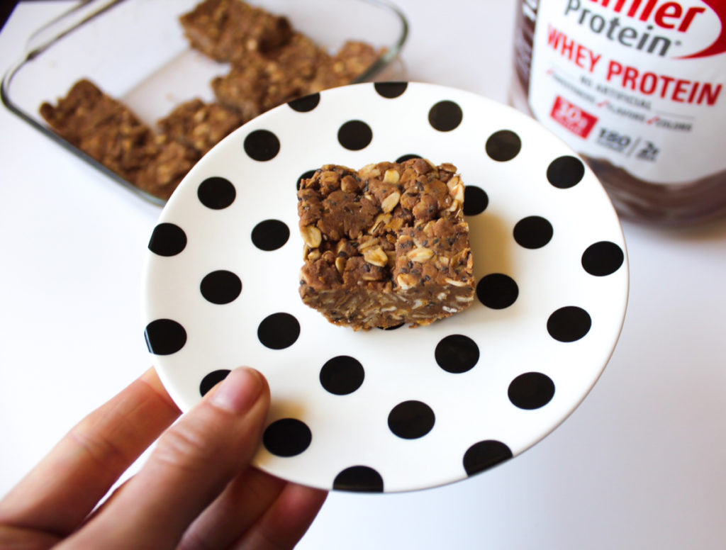 Chocolate peanut butter protein bar by A Lady Goes West