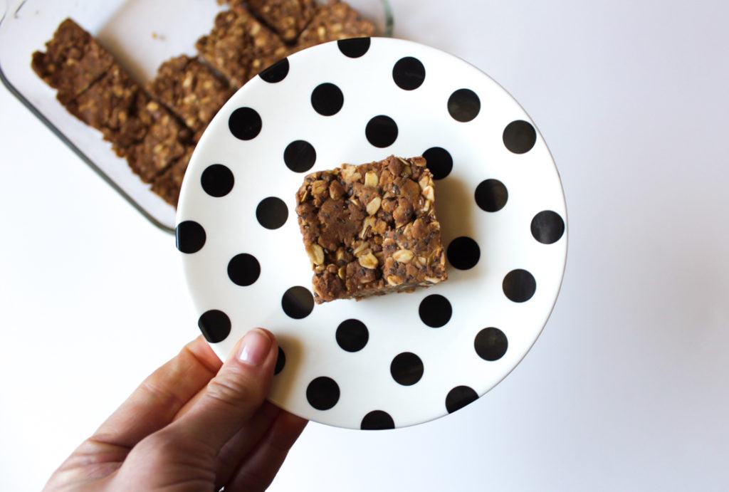 Chocolate peanut butter protein bar with Premier Protein by A Lady Goes West
