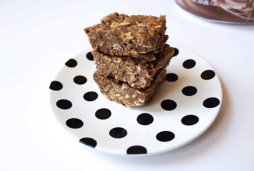 Chocolate peanut butter protein bars by A Lady Goes West