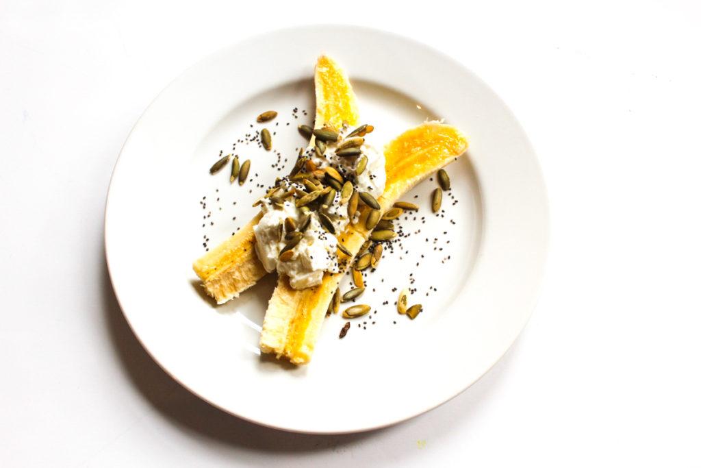 Banana Greek yogurt split breakfast by A Lady Goes West