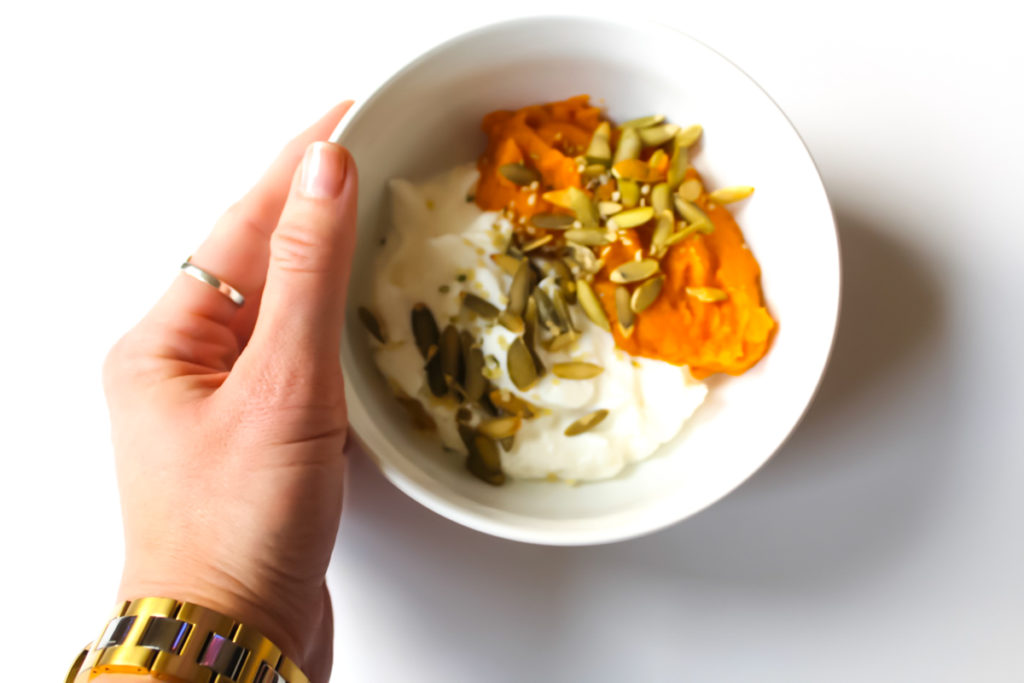 Mashed sweet potato and Greek yogurt breakfast by A Lady Goes West