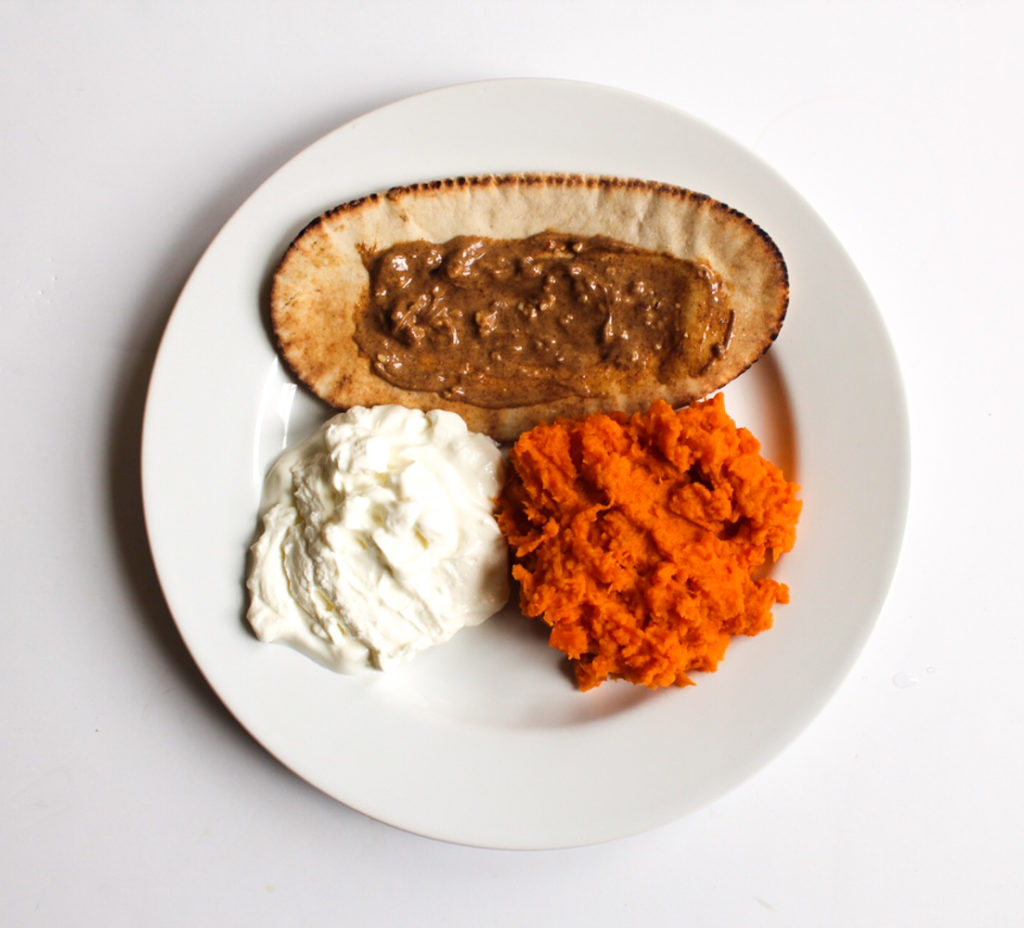 Toasted pita with almond butter, Greek yogurt and mashed sweet potato by A Lady Goes West