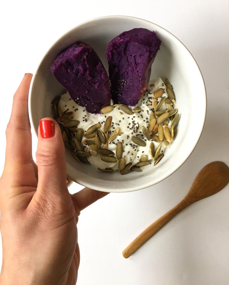 Yogurt and purple sweet potato breakfast by A Lady Goes West