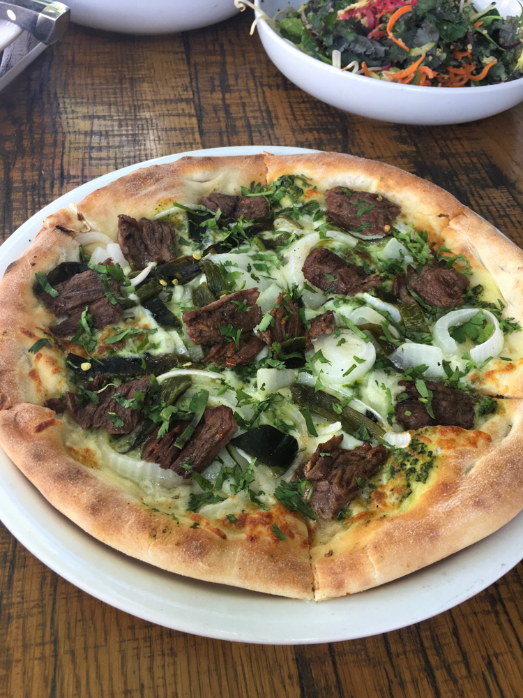 Carne asada pizza at California Pizza Kitchen by A Lady Goes West