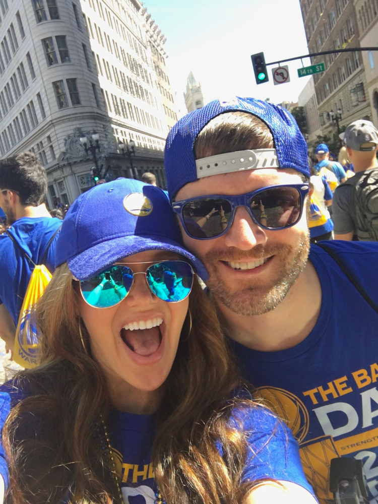 Warriors parade fun selfie by A Lady Goes West