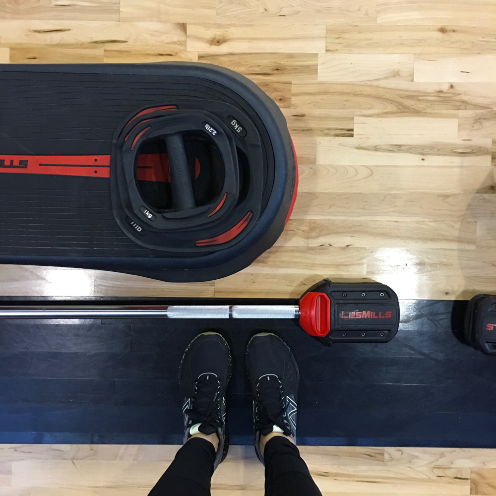 Les Mills BODYPUMP set up by A Lady Goes West