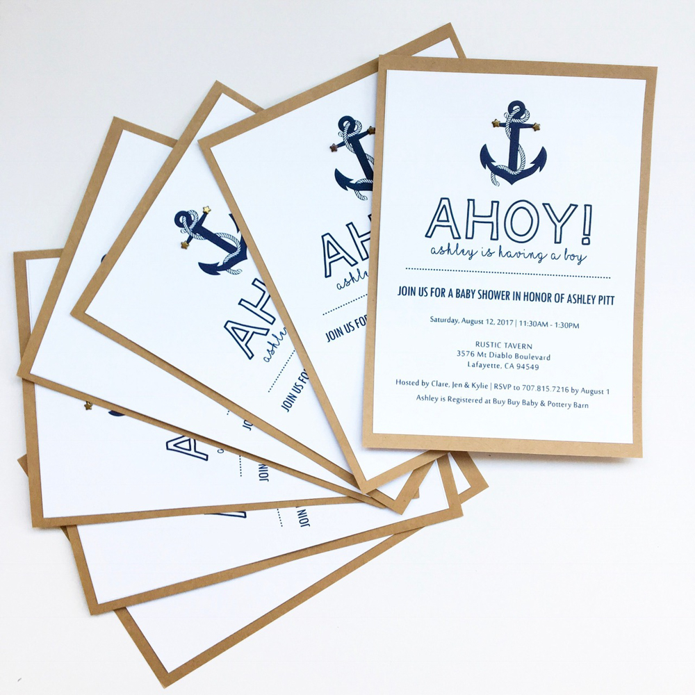 Ahoy baby shower invites by A Lady Goes West