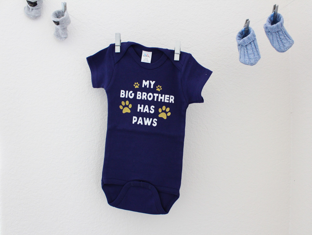 Big brother onesie at the baby shower by A Lady Goes West