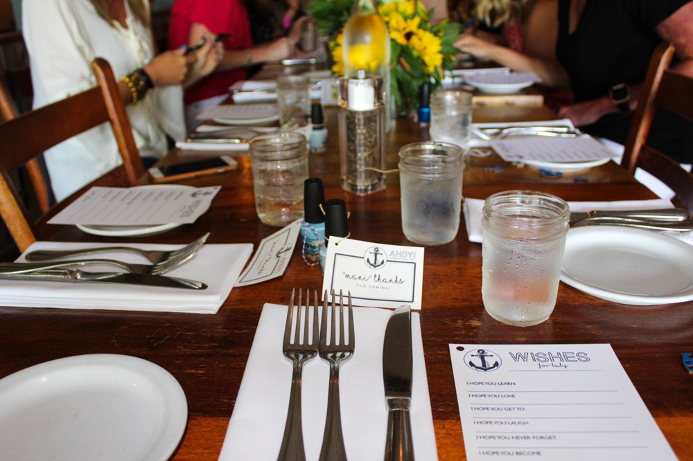 Table setting at Rustic Tavern baby shower by A Lady Goes West