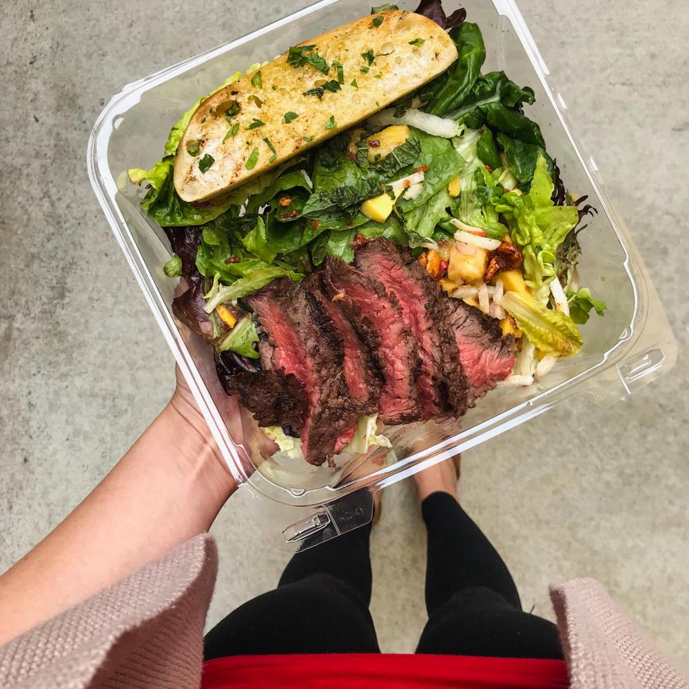 Medium rare steak salad by A Lady Goes West
