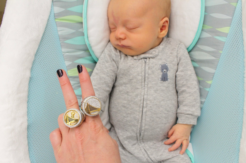 Baby Brady at six weeks with NBA ring by A Lady Goes West