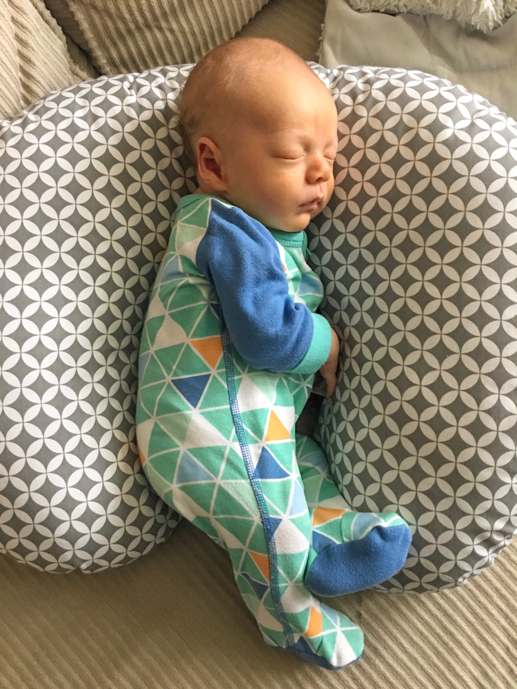 Sweet sleeping Baby Brady at four weeks by A Lady Goes West