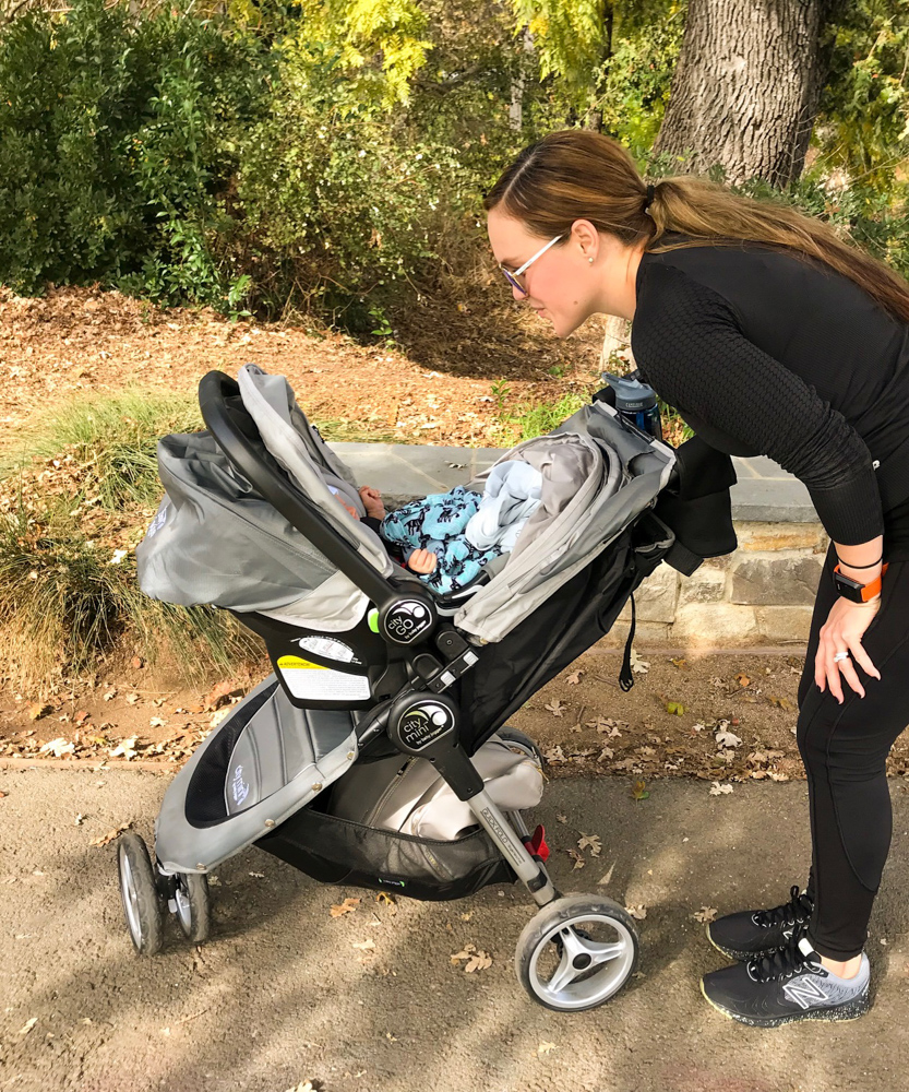 Walking with Brady and the stroller at six weeks by A Lady Goes West