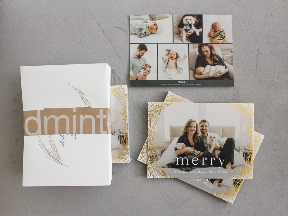 Minted holiday photo cards and envelopes by A Lady Goes West
