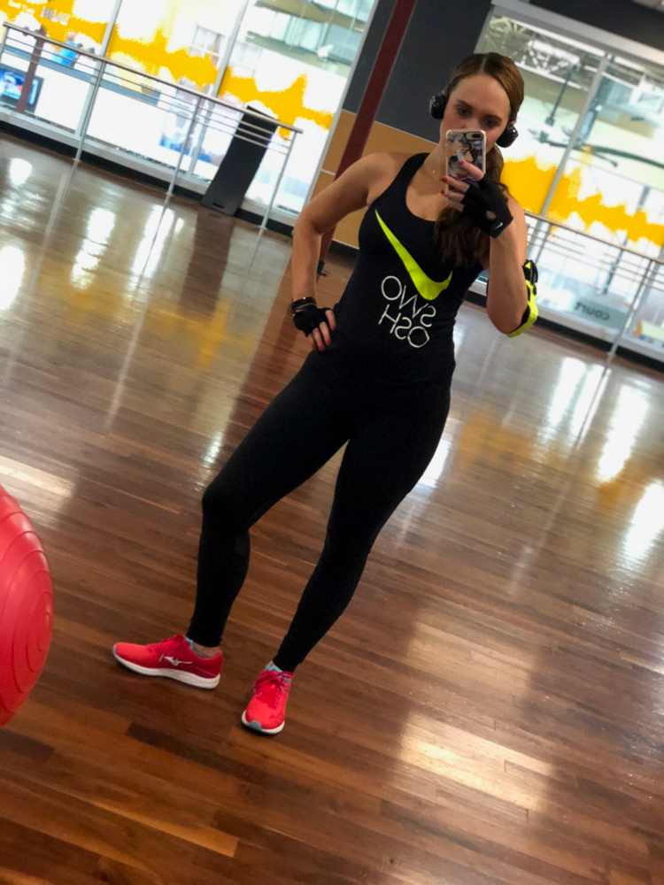 Ashley at the gym at16 weeks postpartum by A Lady Goes West