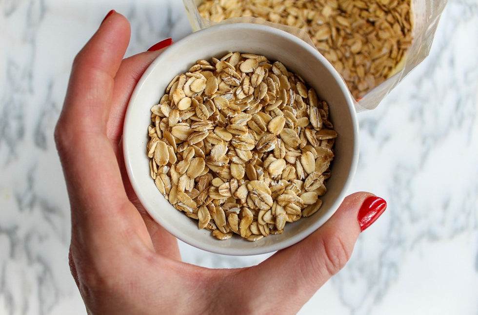 Half a cup of best oats for creamy warm almond butter oatmeal by A Lady Goes West