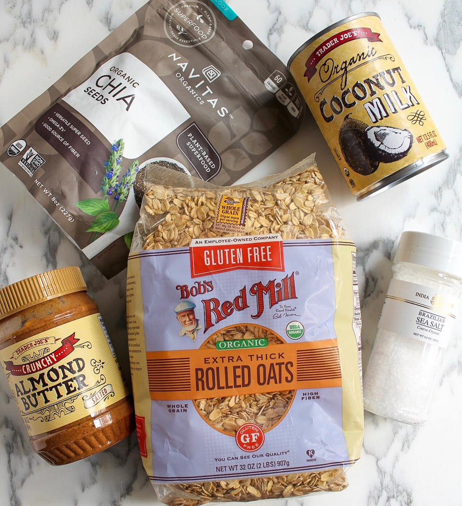 Ingredients for creamy peanut butter oatmeal by A Lady Goes West