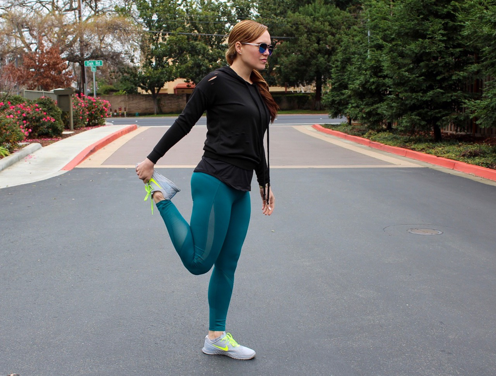 Quad stretch - postpartum fitness journey by A Lady Goes West
