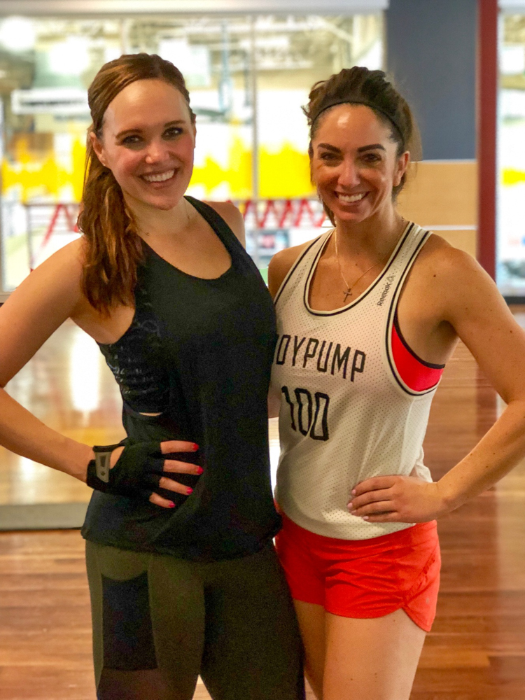 Ashley and Whitney during my return to Les Mills BODYPUMP by A Lady Goes West