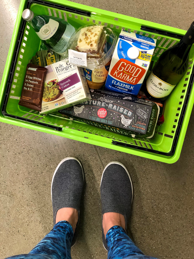Hand cart of groceries from Whole Foods Market 365 by A Lady Goes West