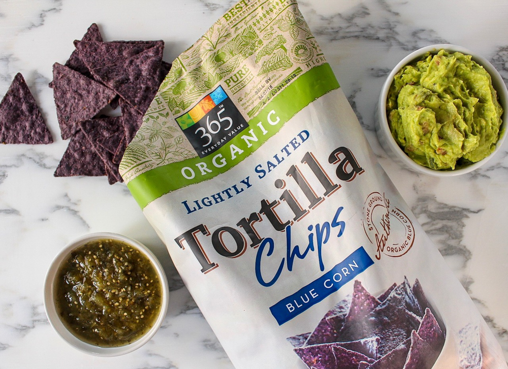Tortilla chips and dips by Whole Foods Market 365 - Super Bowl snack - by A Lady Goes West
