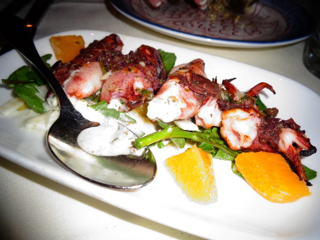 Feta-stuffed calamari