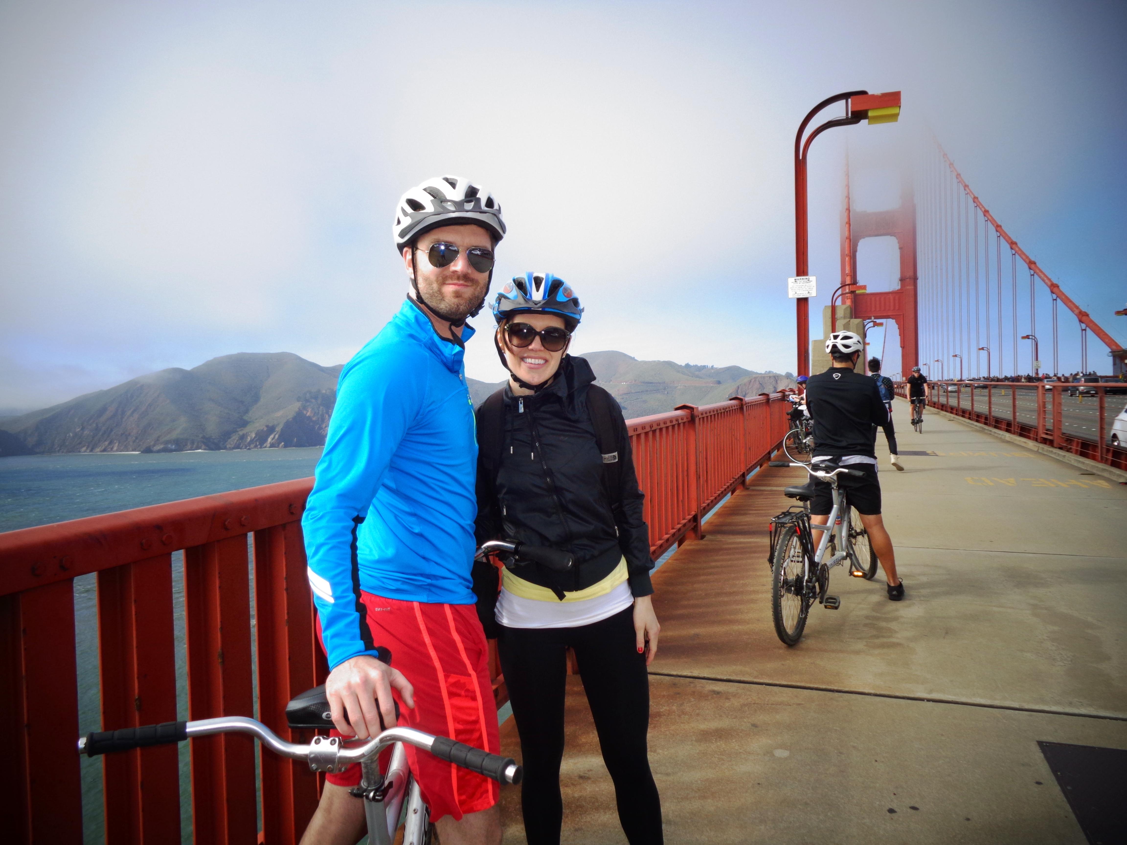 Tandem Bikes Across The Golden Gate Bridge A Lady Goes West