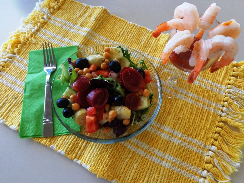 Salad and shrimp cocktail lunch