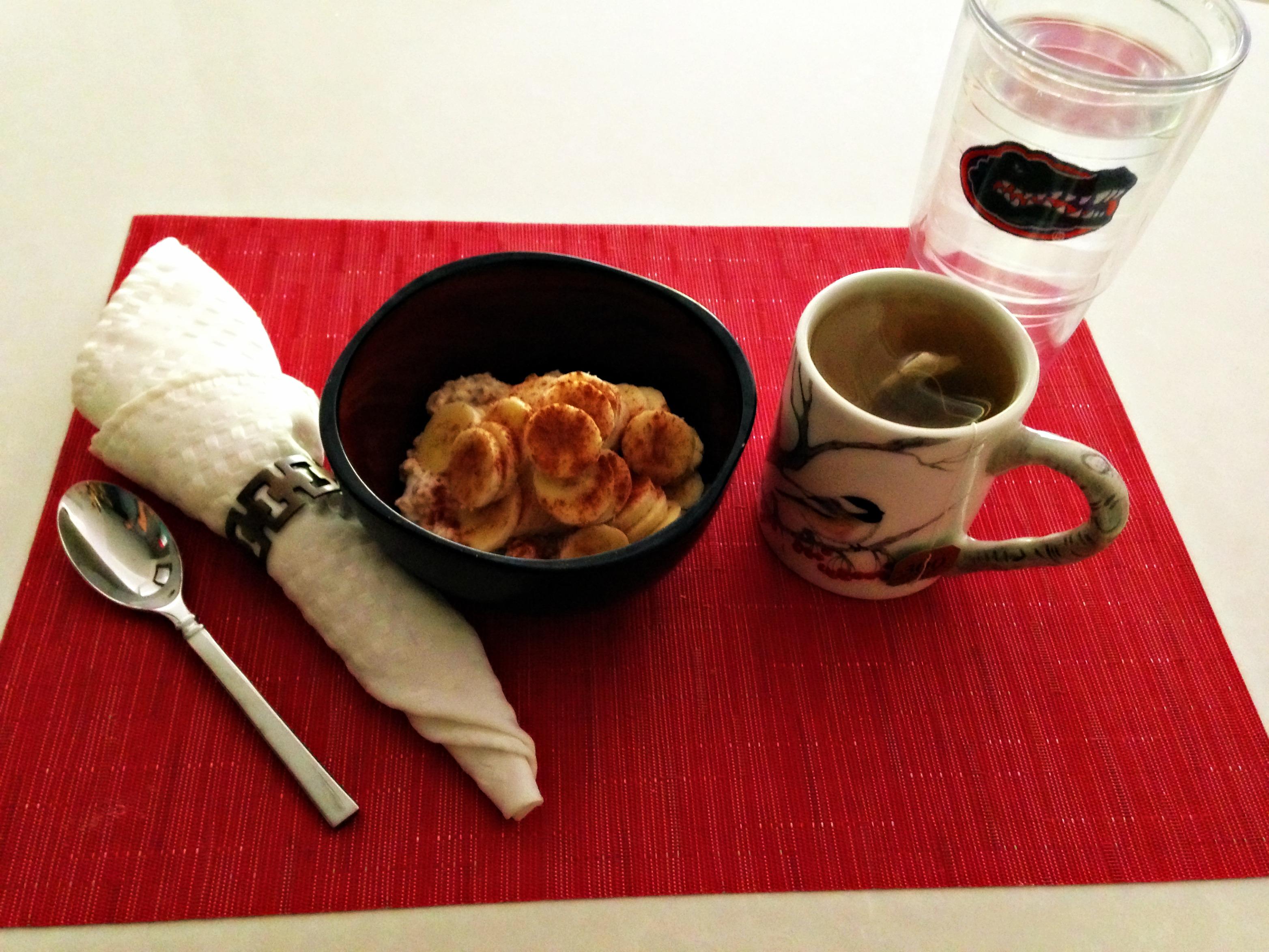 Breakfast overnight oats and tea