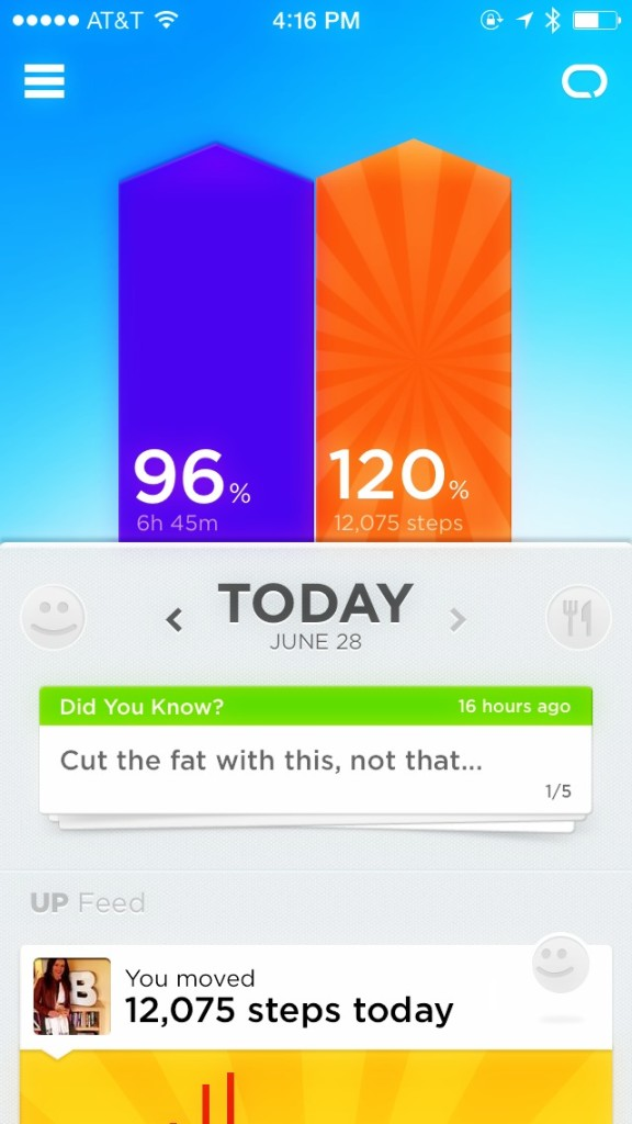 Jawbone UP interface