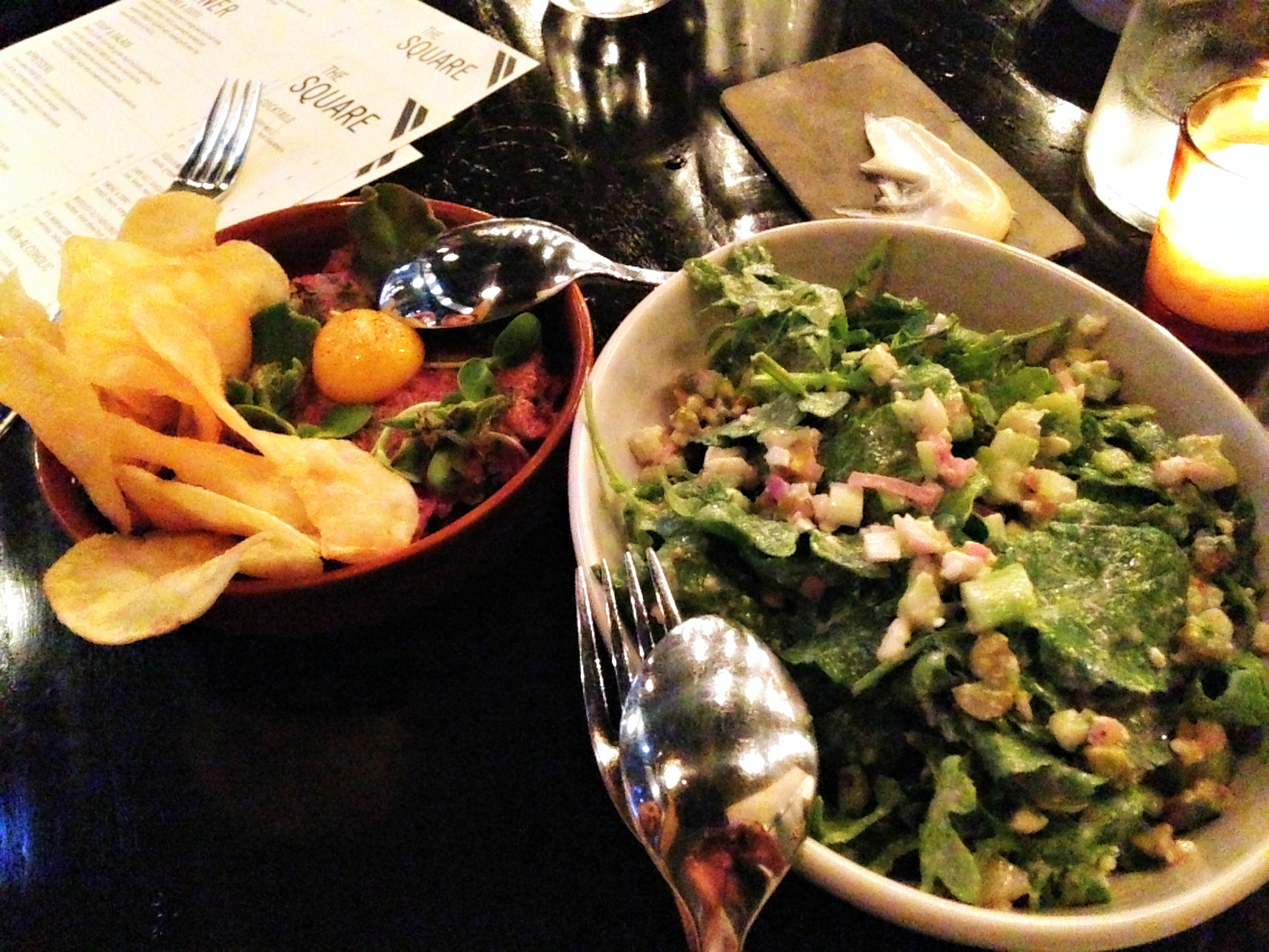 Beef tartare and kale salad