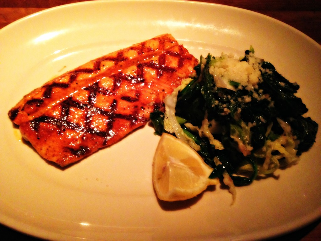 cajun trout and spinach
