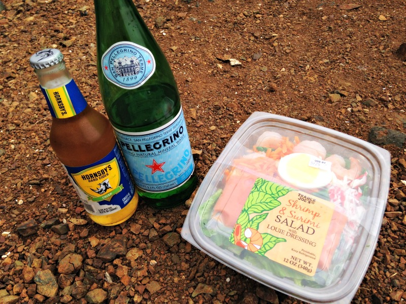 Cider, pellegrino and a shrimp louie salad