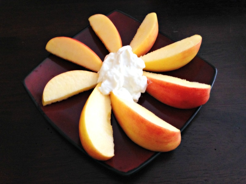 Midafternoon apple and Greek yogurt snack