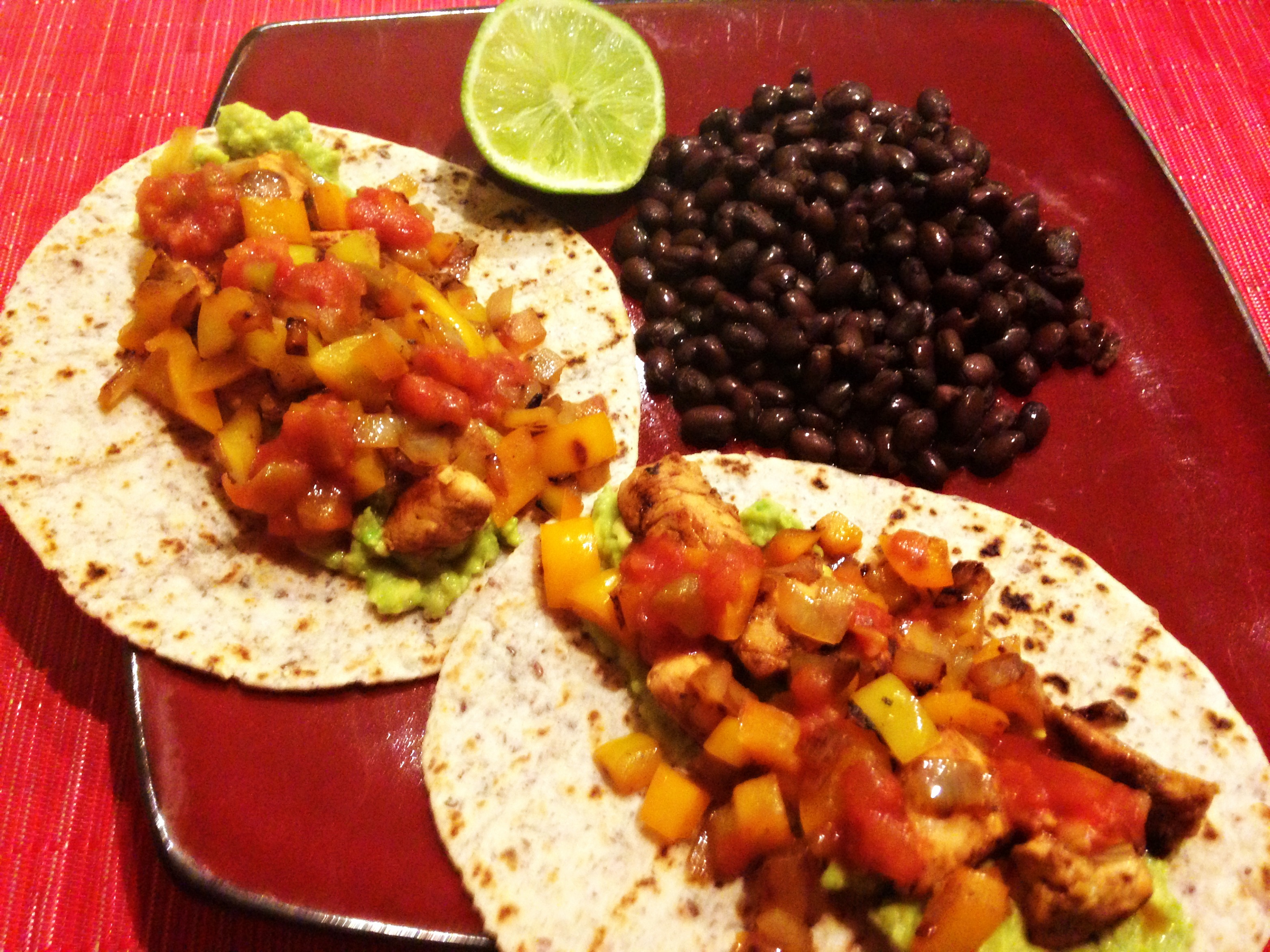 Taco dinner with beans