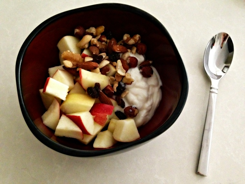 Yogurt, apples and nuts afternoon snack