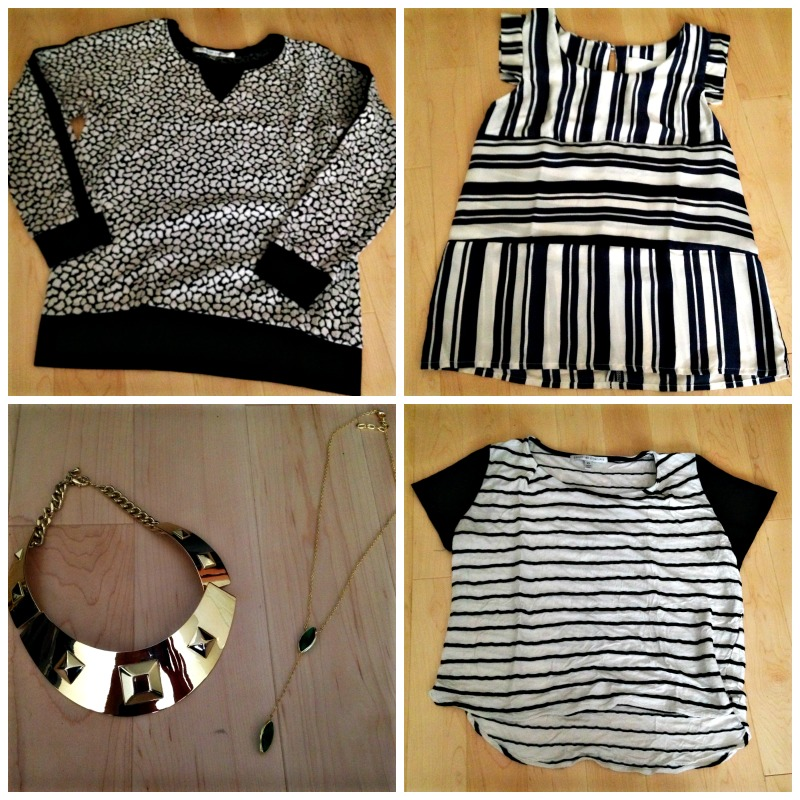 Le Tote tops and jewelry