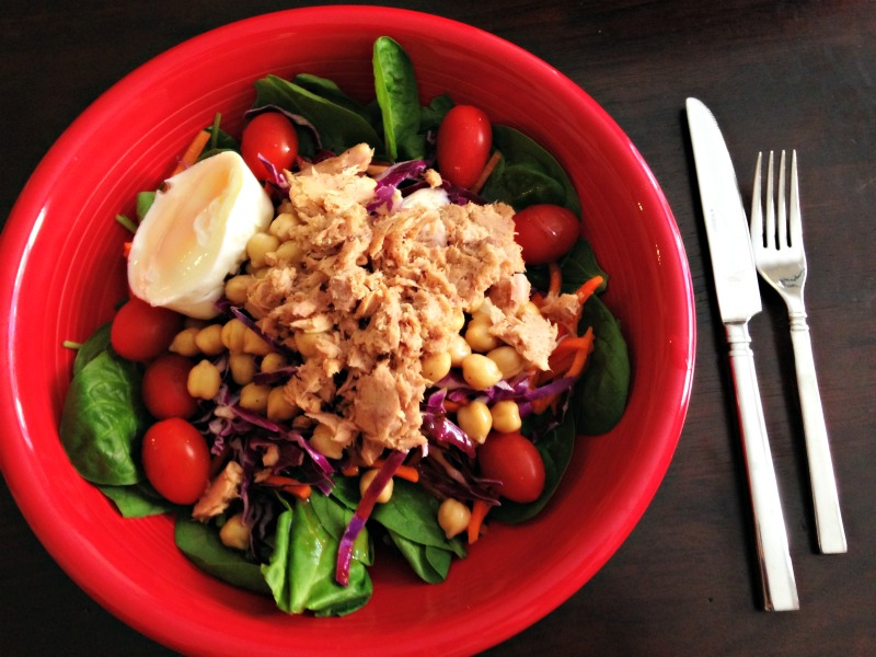 WIAW - salad with tuna and egg for lunch
